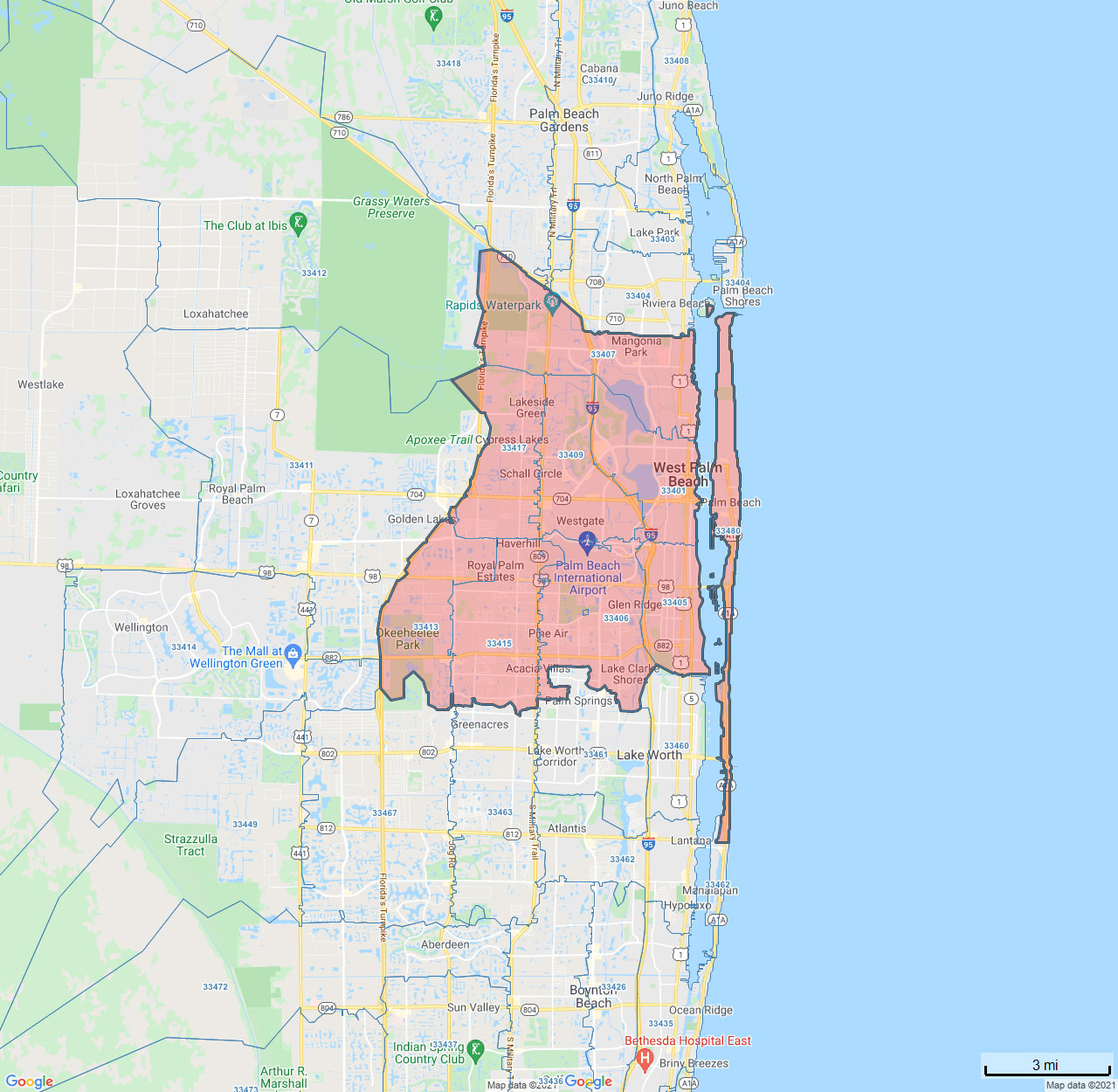 All Dry Services Area Coverage Map for West Palm Beach, FL