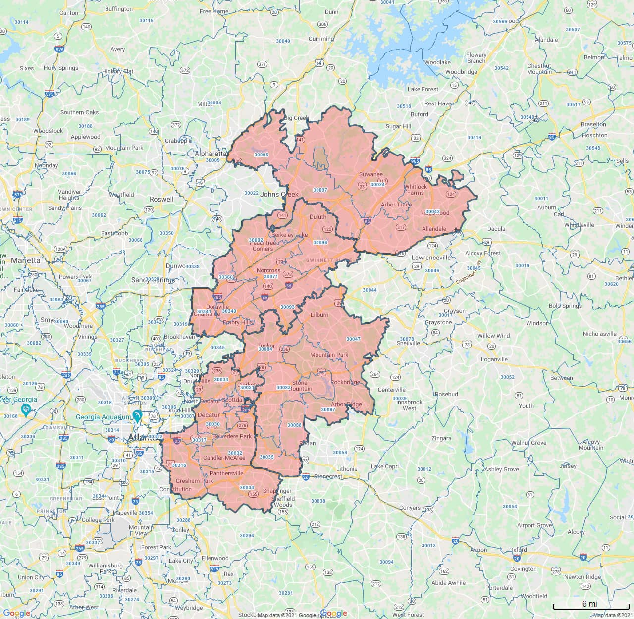 All Dry Services Area Coverage Map for Northeast Atlanta, GA